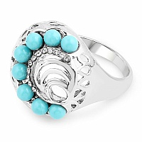 Chrome Plated Fashion Statement Designer Turquoise Stone Stu