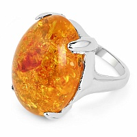 Chrome Plated Fashion Statement Designer Orange Amber Studde