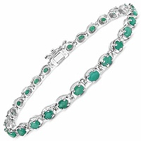 5.40CTW Genuine Emerald .925 Sterling Silver Bracelet