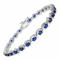 7.29CTW Genuine Kyanite .925 Sterling Silver Bracelet