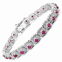 3.36CTW Genuine Ruby .925 Sterling Silver Bracelet
