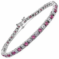 3.77CTW Genuine Ruby & White Diamond .925 Sterling Silver Br