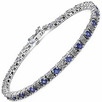 3.25CTW Genuine Tanzanite & White Diamond .925 Sterling Silv