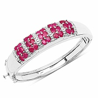 7.56CTW Genuine Ruby & White Topaz .925 Sterling Silver Bang