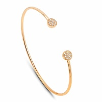0.15CTW White Diamond 14K Yellow Gold Bangle