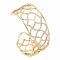 1.36CTW White Diamond 14K Yellow Gold Bangle