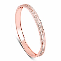 1.57CTW White Diamond 14K Rose Gold Bangle