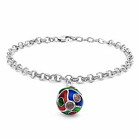 9.97 Grams .925 Sterling Silver Blue, Green & Red Enamel Cha