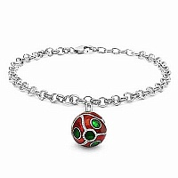10.52 Grams .925 Sterling Silver Red & Green Enamel Charm Br
