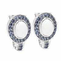 4.86CTW Genuine Opal & Tanzanite .925 Sterling Silver Earrin