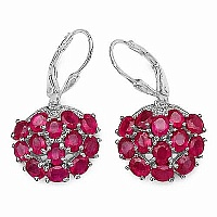 6.76CTW Genuine Glass Filled Ruby .925 Sterling Silver Earri