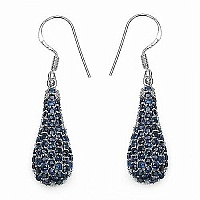 3.88CTW Genuine Blue Sapphire .925 Sterling Silver Earrings