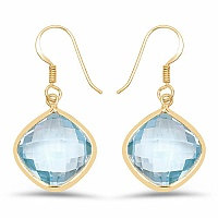 37.22CTW Genuine Blue Topaz 14K Yellow Gold Plated .925 Sterlin