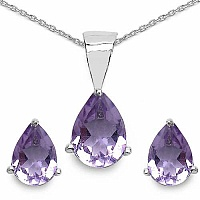 1.89CTW Genuine Amethyst Shape .925 Sterling Silver Pear Sha