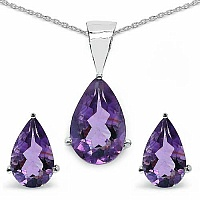 5.73CTW Genuine Amethyst Shape .925 Sterling Silver Pear Sha
