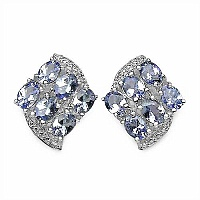 2.04CTW Genuine Tanzanite .925 Sterling Silver Earrings