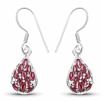 2.64CTW Genuine Ruby .925 Sterling Silver Earrings