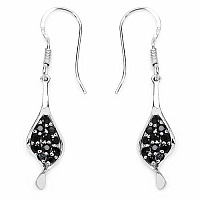 1.06CTW Genuine Black Spinel .925 Sterling Silver Earrings