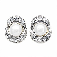 1.48CTW Genuine Pearl & White Cubic Zircon .925 Sterling Silver