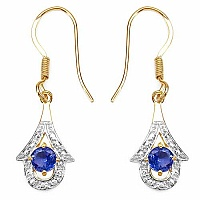 0.94CTW Genuine Tanzanite 14K Yellow Gold Plated .925 Sterli