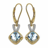 2.40CTW Genuine Blue Topaz 14K Yellow Gold Plated .925 Sterl