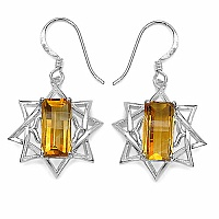 5.95CTW Fancy Shape Genuine Citrine .925 Sterling Silver Earrin