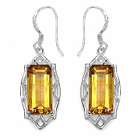 11.18CTW Fancy Shape Genuine Citrine .925 Sterling Silver Earri