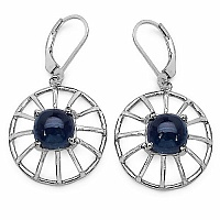 8.92CTW Fancy Shape Genuine Sapphire .925 Sterling Silver Earri