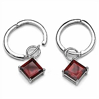 3.50CTW Genuine Garnet .925 Sterling Silver Earrings