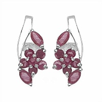 1.08CTW Genuine Ruby .925 Sterling Silver Earrings