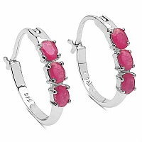 1.50CTW Genuine Ruby .925 Sterling Silver Earrings