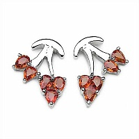 2.00CTW Genuine Orange Sapphire .925 Sterling Silver Earring