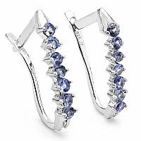 0.98CTW Genuine Tanzanite .925 Sterling Silver Earrings