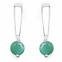 0.50CTW Genuine Emerald .925 Sterling Silver Earrings