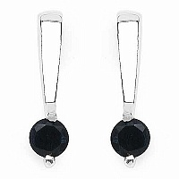0.70CTW Genuine Sapphire .925 Sterling Silver Earrings