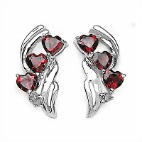 2.12CTW Genuine Garnet & Diamond .925 Sterling Silver Earrings