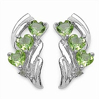 1.52CTW Genuine Peridot & Diamond .925 Sterling Silver Earrings