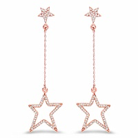 0.57CTW White Diamond 14K Rose Gold Earrings