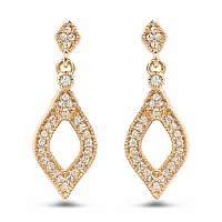 0.24CTW White Diamond 14K Yellow Gold Earrings