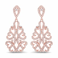 1.23CTW White Diamond 14K Rose Gold Earrings