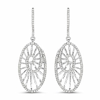 0.80CTW White Diamond 14K White Gold Earrings