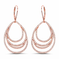 1.36CTW White Diamond 14K Rose Gold Earrings