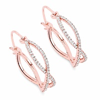 0.72CTW White Diamond 14K Rose Gold Earrings
