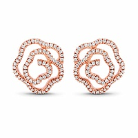 0.54CTW White Diamond 14K Rose Gold Earrings