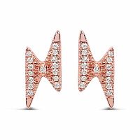0.12CTW White Diamond 14K Rose Gold Earrings