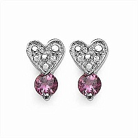 0.50CTW Genuine Pink Tourmaline .925 Sterling Silver Earring