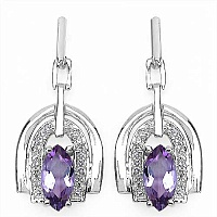2.40CTW Genuine Amethyst & White Topaz .925 Sterling Silver Ear