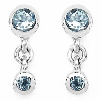 0.86CTW Genuine Blue Topaz .925 Sterling Silver Earrings