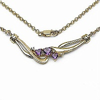 0.99CTW Gold Plated .925 Sterling Silver Amethyst & Diamond