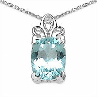 3.50CTW Genuine Blue Topaz .925 Sterling Silver Pendant